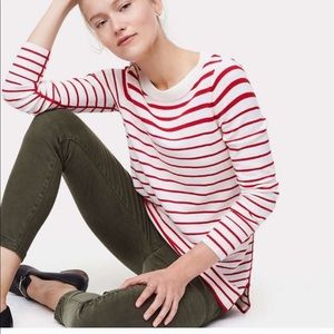 Loft Red and White Striped Tunic Sweater